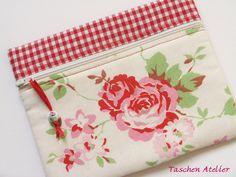 Mäppchen+ROSALI+mit+Karostoff+von+Taschen-Atelier+auf+DaWanda.com