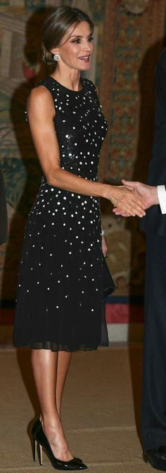 Queen Letizia - black and white Carolina Herrera dégradé sequin silk dress - Felipe Varela satin clutch - Magrit straight-cut vamp patent pumps