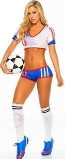 Sexy #American #Soccer #USA Girl Costume in Red White Blue Outfit a Flirty Croptop, Booty Shorts to Foot Kick a Ball