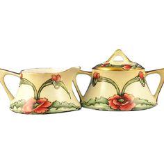 Zeh, Scherzer & Co. (ZS&Co) Bavaria Arts & Crafts Poppy Motif Creamer & Sugar Set (c.1880-1930)