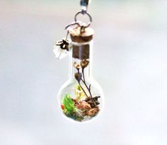Terrarium Necklace Unique Nature Gift Mother's Day, Real Dried Flowers Moss…