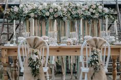 Hessian chair decorations with flowers