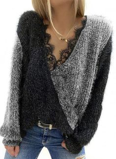 Casual Sweaters, Sweaters For Women, Latest Fashion For Women, Womens Fashion, Fashion Online, Lace Sweater, Style Casual, Embroidery Fashion, Color Block Sweater