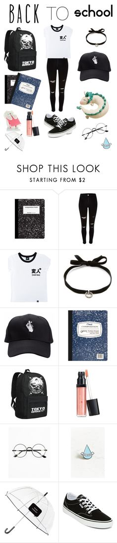 """😭school😭"" by msunicornanna ❤ liked on Polyvore featuring River Island, Illustrated People, DANNIJO, Mead, Laura Geller, Chicnova Fashion, Stay Home Club, Kate Spade, Vans and backpacks"