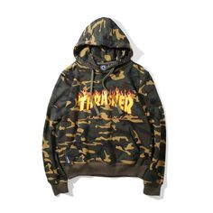 High Quality Autumn Mens Camouflage Thrasher Hoodies Cotton Skateboards Magazine Camo Trasher Hooded Sweatshirts And Hoodie Thrasher Outfit, Thrasher Sweatshirt, Trendy Outfits, Cute Outfits, Mens Sweatshirts, Hoodies, Camo Hoodie, Long Sleeve Tops, Street Wear
