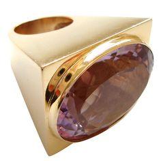 Massive Amethyst Gold Ring