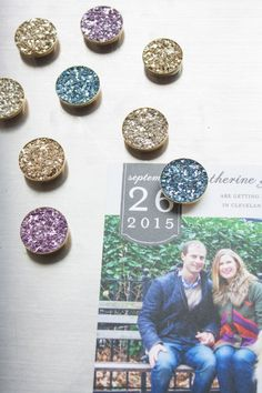 Faux druzy (geode crystal) magnets made with glass glitter.