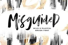 Presenting Misguided - a brush font that throws out the typography rulebook! Thick lines, thin lines, small letters, big letters - Misguided has it Brush Font, Brush Lettering, Brush Type, Lettering Styles, Lettering Design, Script Type, Script Fonts, Handwriting Fonts, Calligraphy Fonts
