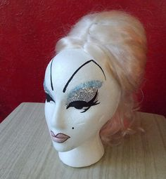 Divine Inspiration . Hand Painted Drag Mannequin Head . Styrofoam Wig Display by ToHellinAHandbag on Etsy, $35.00