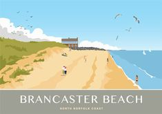 Brancaster Beach and Golf Clubhouse. Art print available from £12