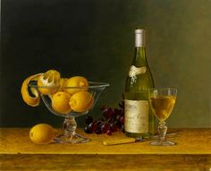 Roy Hodrien  ~   Chablis with Lemons in a Glass Bowl