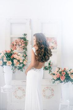 Wedding Hairstyles ~ Loose Long Locks & low back gown