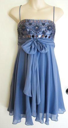 BCBG MAXAZRIA Silk Dress Periwinkle Fairy Princess Romantic Embroidered Cute 4 S   eBay $9.99