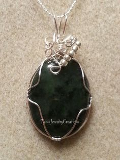 Jade Gemstone Cabochon Wire Wrapped Pendant by TamsJewelryCreations  visit my Etsy shop https://www.etsy.com/shop/TamsJewelryCreations