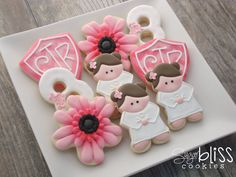 Baptism Custom baptism assortment with coordinating flowers designed especially for Linda Thank You! Roll Cookies, Cookies For Kids, Baby Cookies, Flower Cookies, Cute Cookies, Birthday Cookies, Sugar Cookies, Cookies Et Biscuits, Frosted Cookies