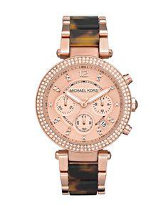 Rose Gold tortoise shell Michael Kors watch.