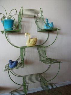 Mid Century Wire Shelf  Green Metal Bookshelf by HarriettsHallway, $98.00