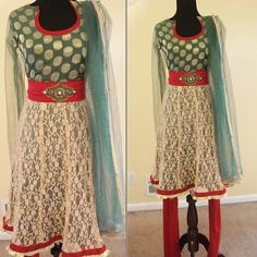 Green Red Gold Lace Anarkali Small NWT ! Dress This beautiful anarkali dress features embroidery with crystals, beads, and sequins ! It is a 3 piece outfit and ready to wear  We also carry Indian apparal which includes suits, saris, lehengas, Anarkalis, salwar kameez, and more! All products ship from NJ, USA , please check out the Vinayak Couture FB page for more designs and pictures.  Please feel free to ask any questions, thanks anarkali Other