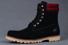 Timberland Men's Oakwell 6 Eye Moc Toe Boots - Black and Red,Fashion Timberland Boots,Timberland Boots Outfit,New Timberland Boots 2016
