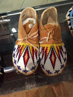 Beaded moccasins from Fort Hall
