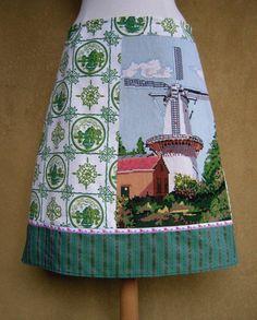 Molen van Zoetermeer borduurwerk rok vintage stof rok door LUREaLURE
