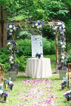 Beautiful Blooms - Outdoor Garden Ceremony with Mason Jars Lining Aisle