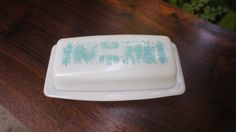 vintage Pyrex butter dish, turquoise blue Amish butterprint design