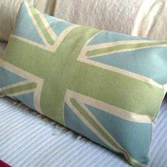 Green Blue Union Jack Pillow