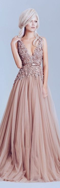 DesertRose Nude Blush Bridal Wedding Gown Dress featuring deep v neck heavily embellished bodice romantic a line wedding dress full skirt