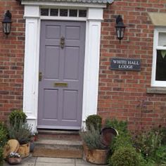 I did re paint my front door, I thought that I would keep you updated! This time it's in Farrow & Ball Brassica Exterior Eggshell. Purple Front Doors, Purple Door, Painted Front Doors, Front Door Colors, Front Door Decor, Porch Doors, Entrance Doors, Farrow And Ball Paint, Farrow Ball
