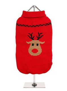 A Christmas dog sweater with rudolph the red noise reindeer a knitted dog sweater with an elasticated waist for a snug fit