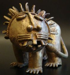 Item #497 Type of object: Lion figure Ethnic group: Asante Country of origin: Ghana, Africa Measurement: 17x 9x 9x (cm) Materials: Brass, made with the lost-wax method Overall condition: Excellent