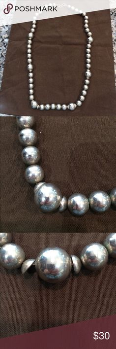 Vintage silver beads necklace 30 inch silver necklace - vintage. In great condition Jewelry Necklaces