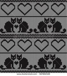 Knitted seamless border cats and hearts on Valentine's Fair Isle Knitting Patterns, Knitting Stiches, Knitting Charts, Chat Crochet, Crochet Chart, Crochet Home, Cat Cross Stitches, Cross Stitch Embroidery, Cross Stitch Patterns