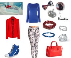 """[Requested by get-cha-crayon] Outfit inspired by Nu'est Aron in """"Sleep Talking"""" More Outfit on I Dress Kpop Get The Look: Red Blazer Blue Sneakers Blue Top Comic Book Leggings Brooches 1 - 2 - 3 Red Bracelets Blue Bracelet Ring 1 Ring 2 Red Bag"""
