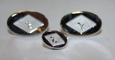 Vintage Cuff Links and Tie Tack Silver 1960's by ilovevintagestuff
