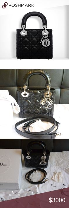 704820f6a1e6 Mini Lady Dior Bag Black lambskin-Silver Hardware Mini