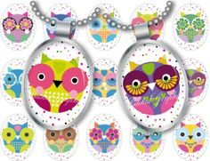 Cartoon Cute Little Owls Digital Collage Sheet 30x40 mm Printable oval ellipse images for glass resin pendants cabochon button JPG 159