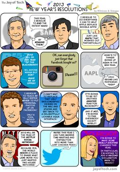 Nitrozac and Snaggy of The Joy of Tech did some eavesdropping during the holidays, and discovered the New Year's resolutions of lots of tech celebrities.