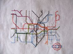 London Tube Embroidered Map