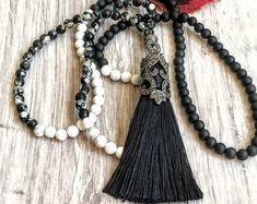 #forher#necklace#handmade#Boho#ethnic#jewlery#gifts#mala#style  Boho beaded black necklace, Long bead tassel necklace, Long  black Mala necklace, long black bead necklace, black white mala necklace
