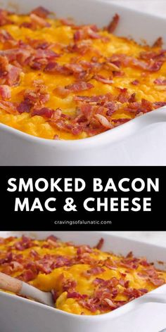 This Smoked Bacon Macaroni and Cheese is a delicious recipe filled with 4 kinds of cheese and loaded with smoked bacon. #macandcheese #sidedish #dinner #bacon #cheese Mac Amd Cheese Recipe, Macaroni And Cheese Bacon, Smoked Mac And Cheese, Macaroni Recipes, Cheesy Recipes, Smoked Bacon, Bacon Recipes, Brunch Recipes, Dinner Recipes