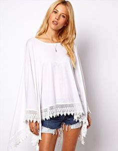 The hippie in me loves this top. Image 1 of ASOS Oversized Top in Linen Nep with Lace Hem