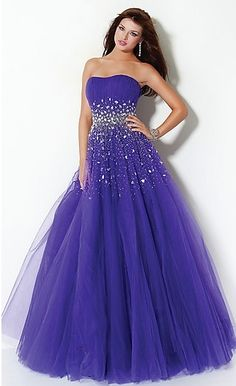 Dreamy Violet Blue A-line Strapless with Jewel Accent Layered Tulle Floor Length Prom Dresses/Sweet 16 Dresses/Formal Dresses prom0138