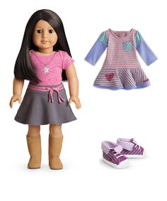 This Light Skin, Black-Brown Hair, Brown Eye 18'' Doll & Outfit Set by American Girl® is perfect! #zulilyfinds
