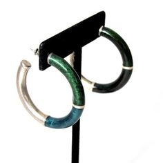 Vintage Silver and Azurite Malachite Hoops