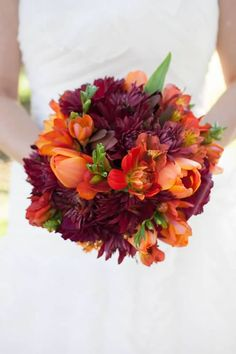 @Cathryn Clark....Fall Wedding Bouquet see purple can be a fall color