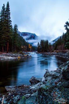 500px / Foggy Sunrise at  Wenatchee River just upstream from Leavenworth WA. - by Steven Lamar