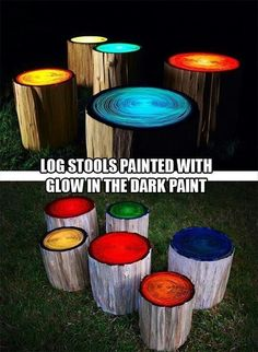 Funny pictures about Log stools painted to glow in the dark. Oh, and cool pics about Log stools painted to glow in the dark. Also, Log stools painted to glow in the dark. Outdoor Projects, Diy Projects, Garden Projects, Outdoor Crafts, Backyard Projects, Garden Tips, Log Stools, Log Chairs, Log Benches