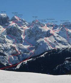 Le molte linee pensate, realizzate, talvolta aperte, da Omar Oprandi. #scialpinismo e #ciaspole nelle #dolomiti di #brenta. http://www.vividolomiti.it/